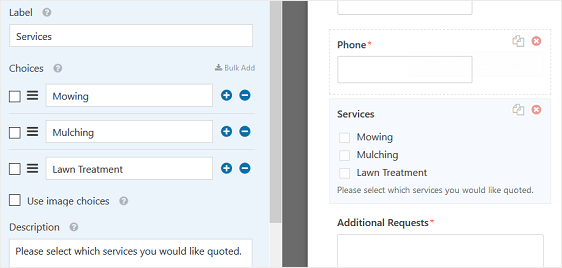 Request Services Checkboxes