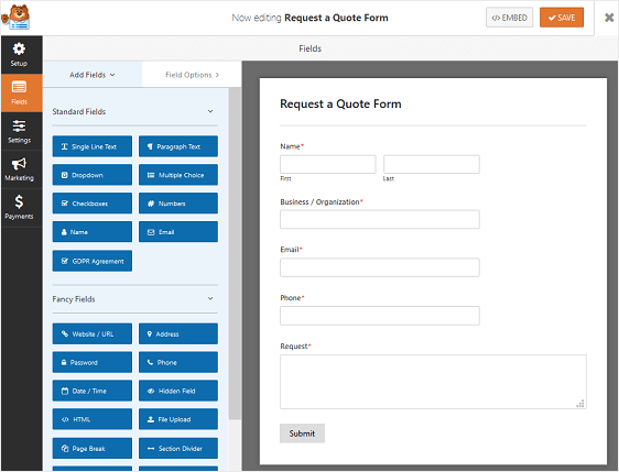 Request A Quote Magnificent How To Create A Request A Quote Form In WordPress