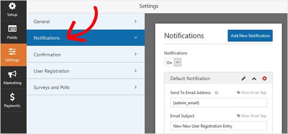 User Registration Notifications