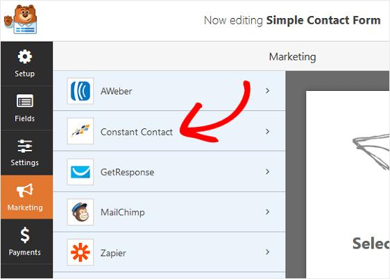 WPForms Marketing Tab