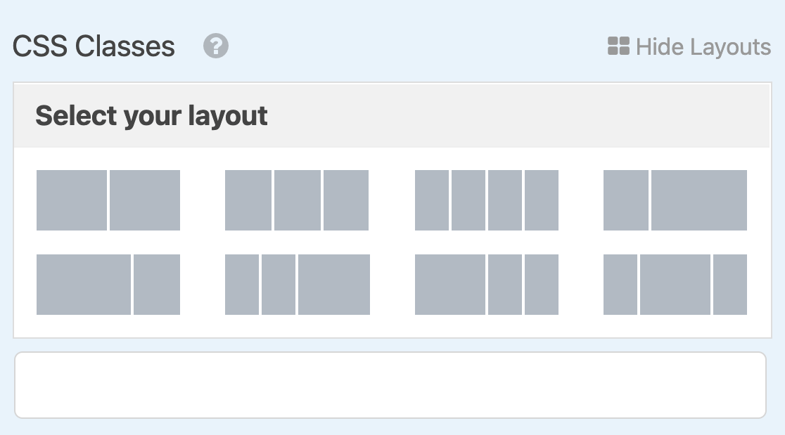 Available multi-column layouts in WPForms