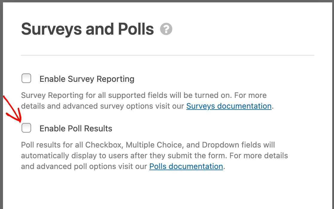 Enabling poll results for a form