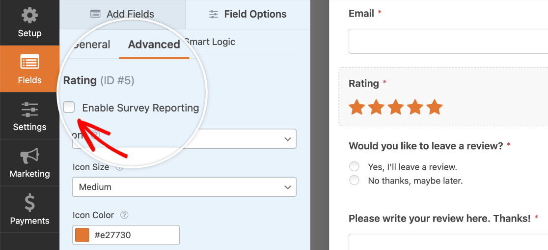 Enabling survey reporting for a field