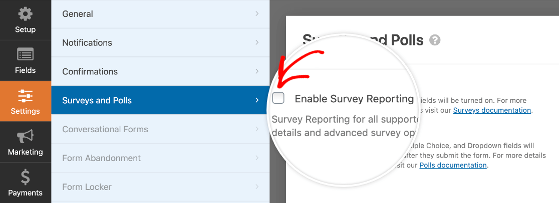 Enabling survey reporting for a form