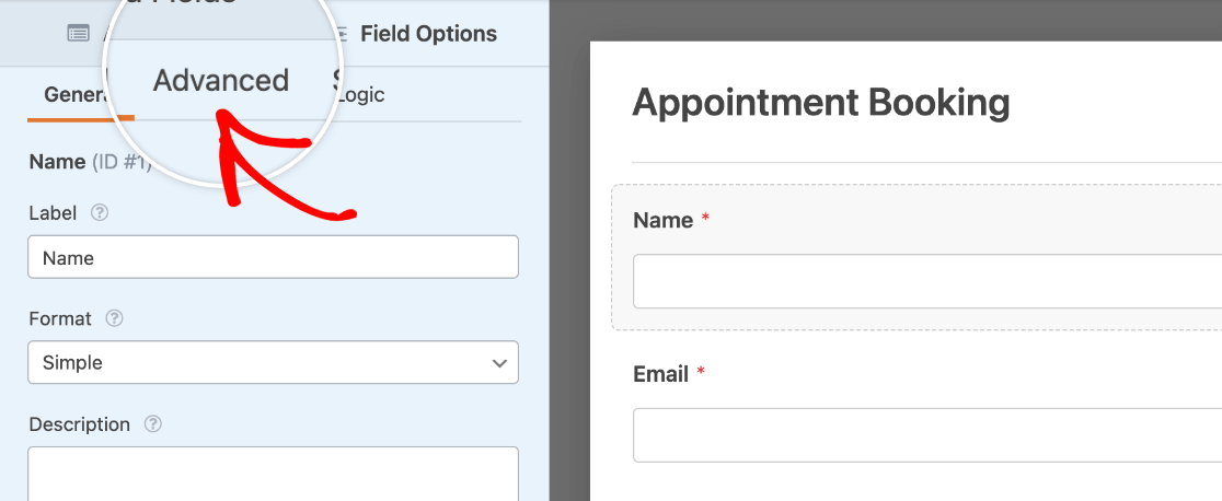 Opening the Advanced Field Options panel