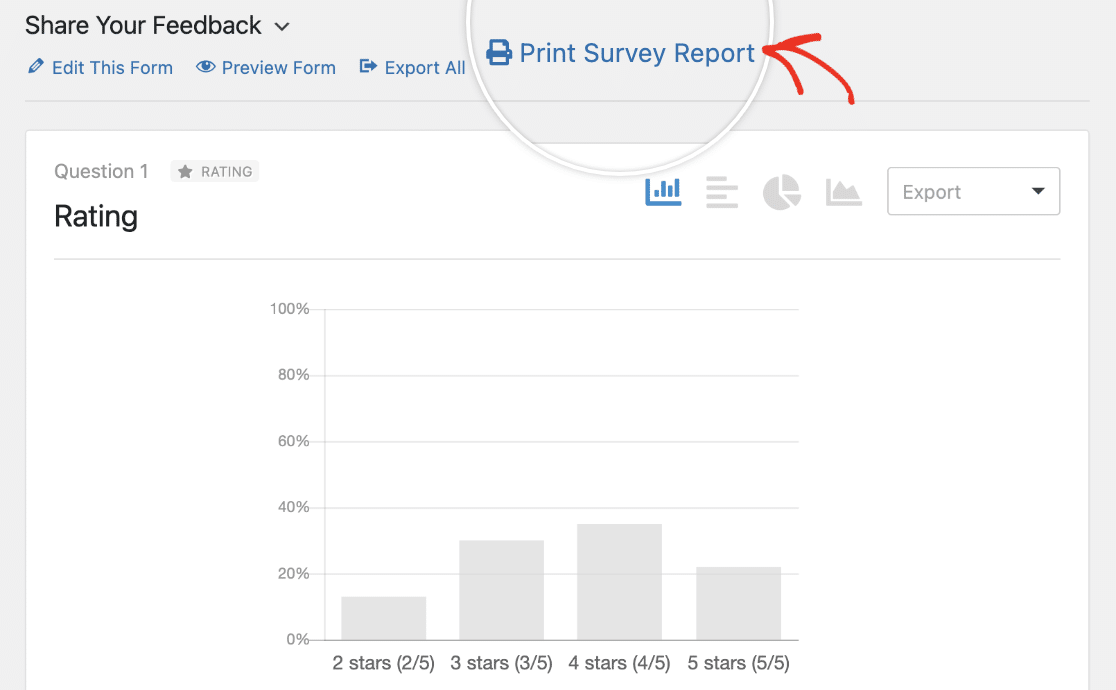 Opening the print preview for a survey report