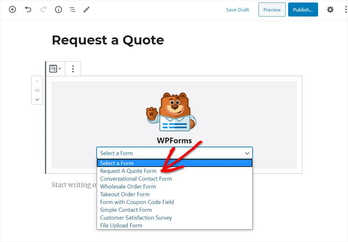 request a quote form wordpress