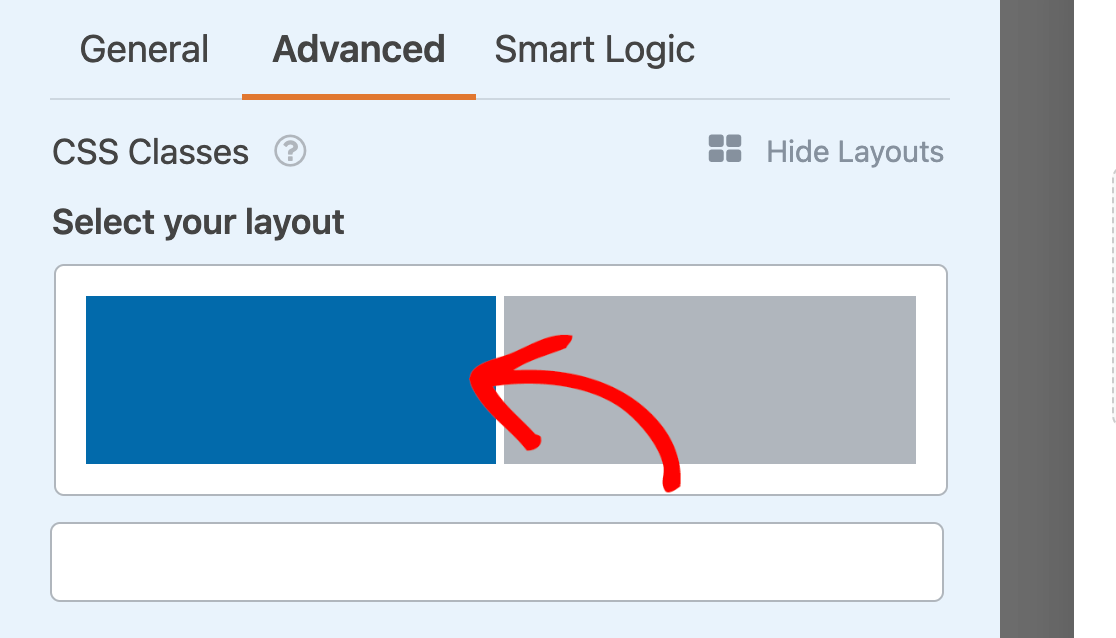 Setting the first field in a multi-column layout