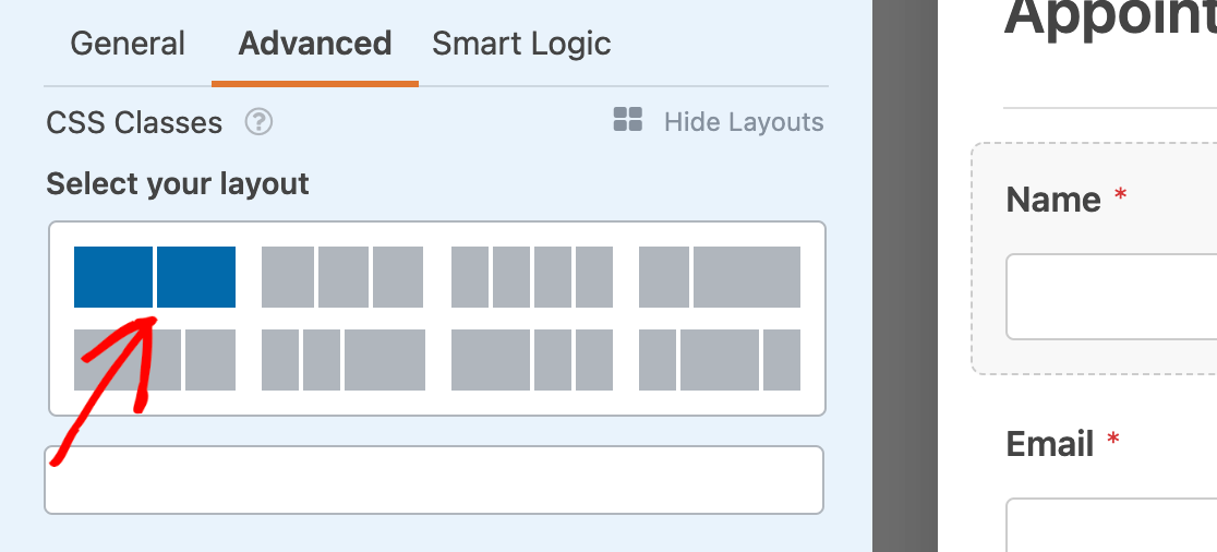Selecting a two-column layout