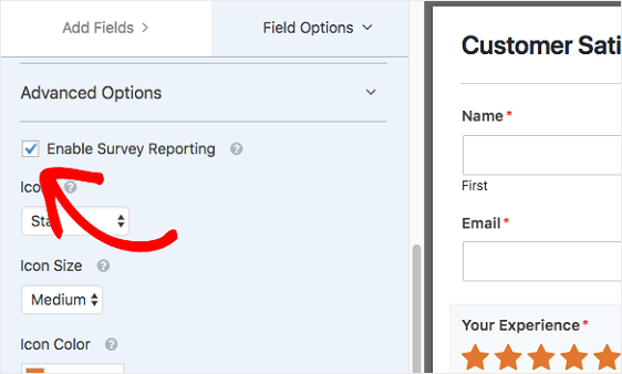 Enable Reporting in Form Editor to create a survey online
