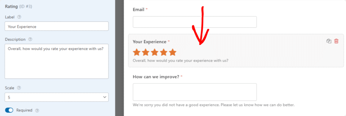 Customize the Survey Form Rating Field