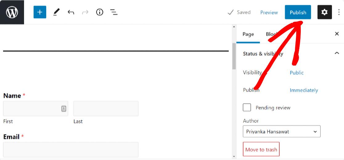 publish survey form