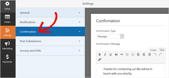 WPForms Confirmation Settings