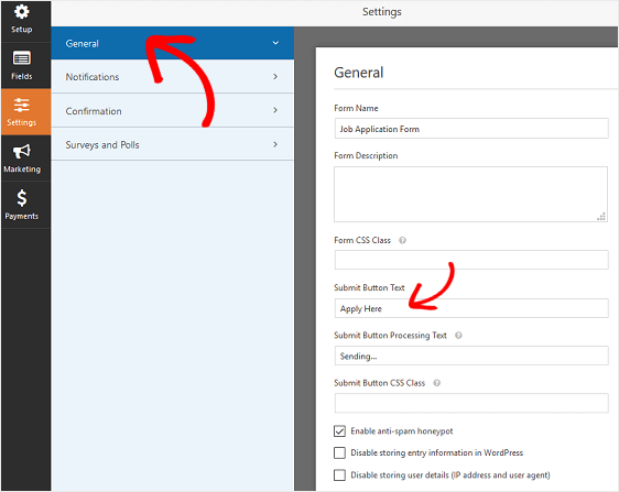 WPForms General Settings