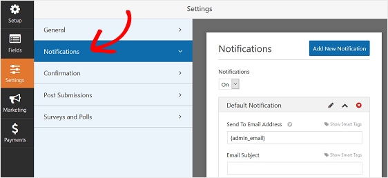 WPForms Notification Settings