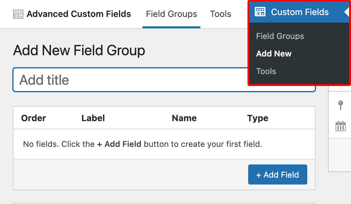 Accessing the Advanced Custom Fields Add New Field Group screen