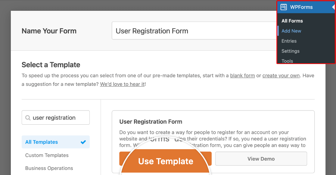 Selecting the User Registration Form template