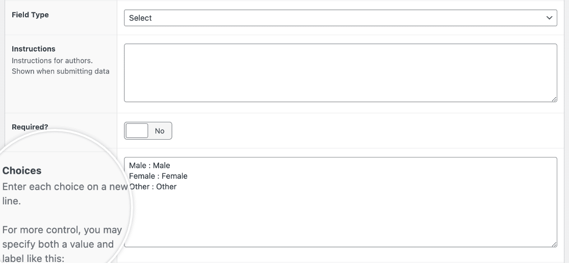 Adding choice to a Select field type in Advanced Custom Fields