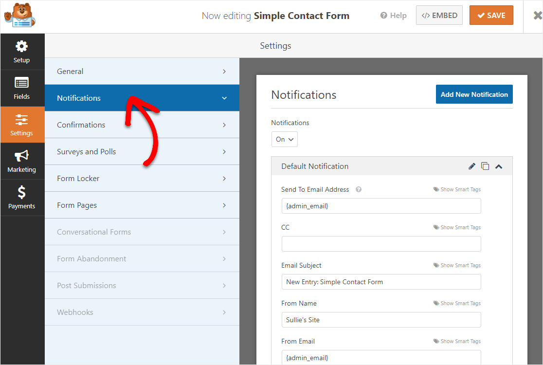 form notification settings on contact form