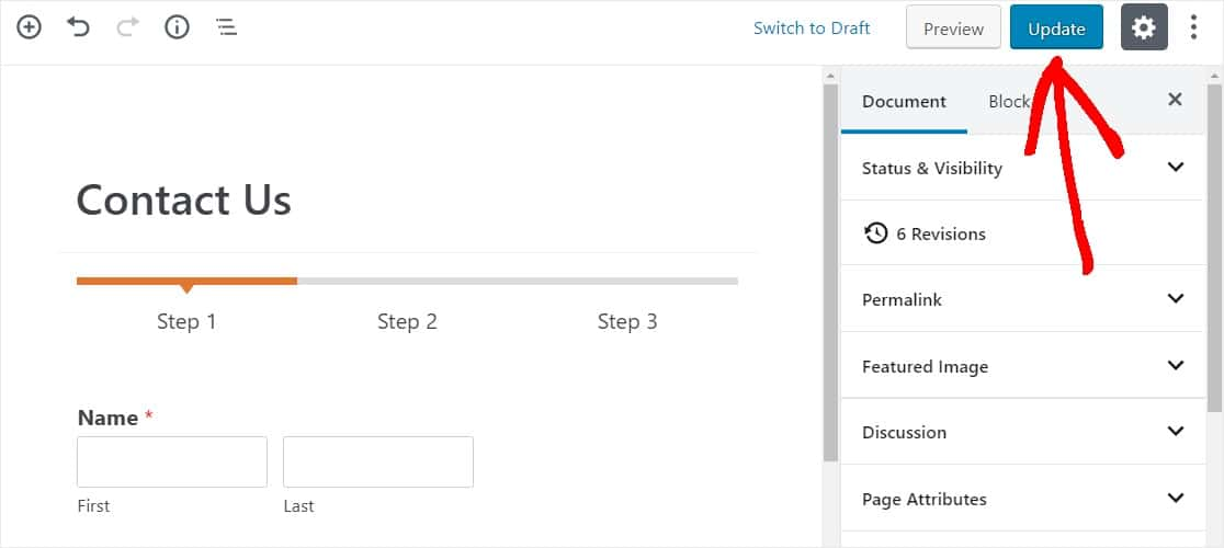 save and publish your multi step form