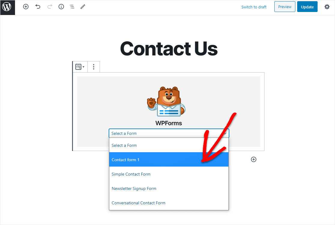 select exported contact form 7