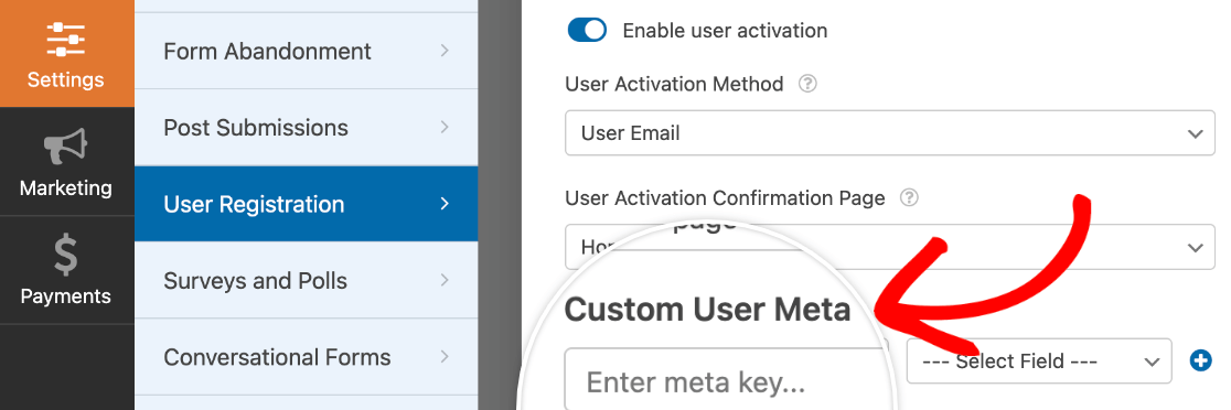 Accessing the Custom User Meta section of the User Registration settings in WPForms