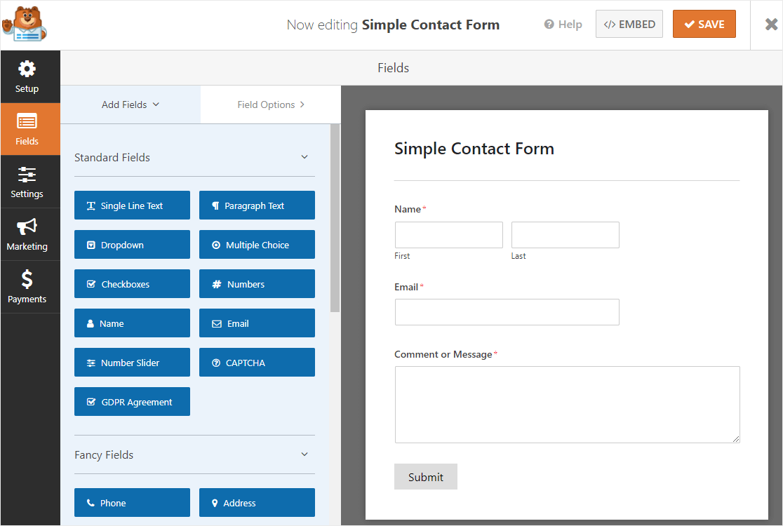 simple contact form on wpforms fields page