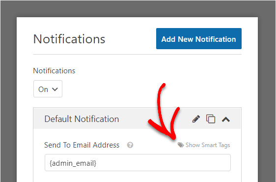 smart tags in form notifications