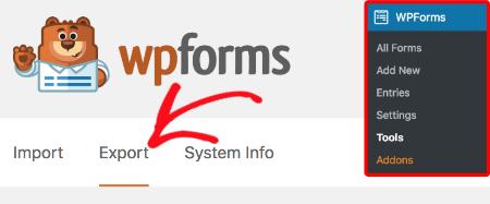 WPForms Tools Export tab