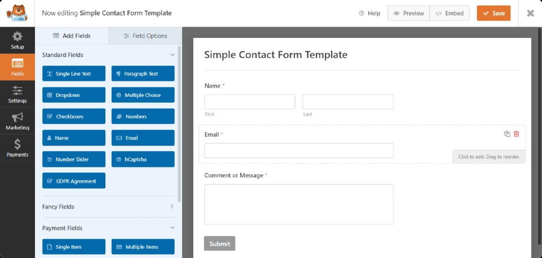 create form in wordpress