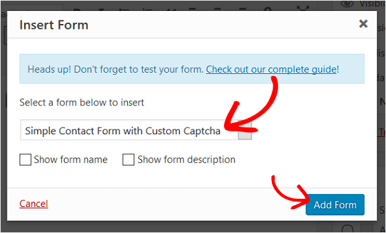 Add Custom Captcha Form