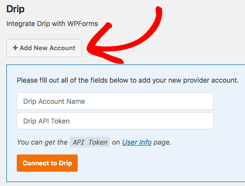 Add new Drip account to WPForms