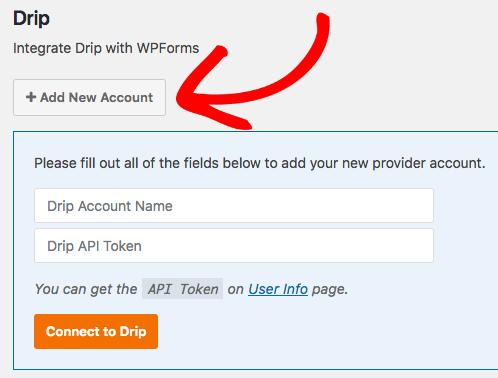 Add new Drip account to WPForms