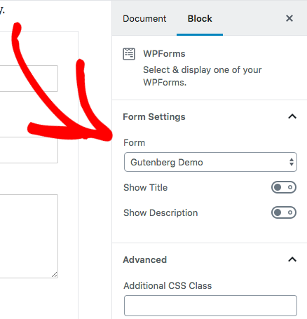 Adjust WPForms settings in Gutenberg block