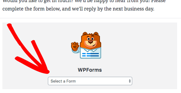 Choose a form to display in the WPForms Gutenberg block