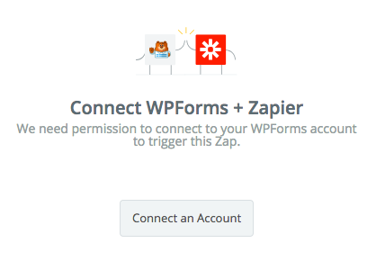 Click the Connect an Account button in Zapier