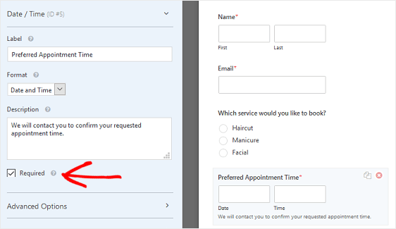 Client Booking Form Date and Time