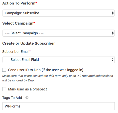 Create a Subscribe to Campaign action in WPForms Drip addon