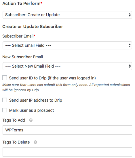 Create or Update subscriber in WPForms Drip addon