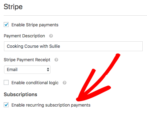 Enable recurring subscription payments in WPForms Stripe addon