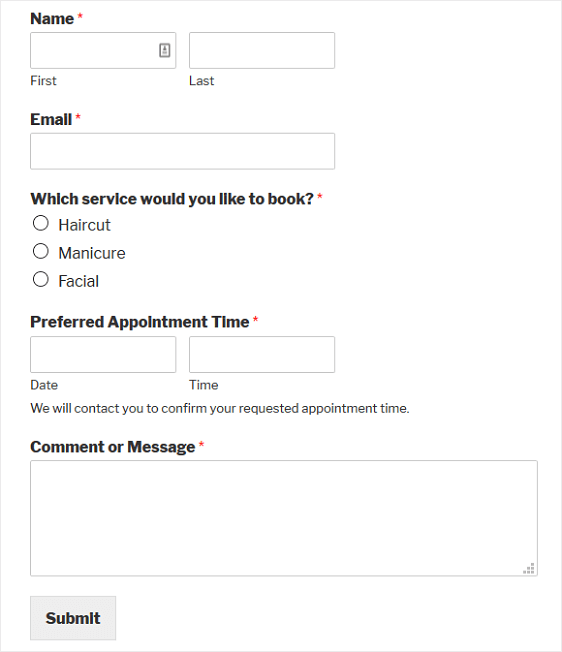 how to create a client booking form in wordpress