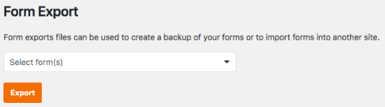 Form export tool in WPForms