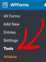 Go to WPForms Tools