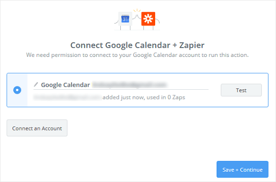 Google Account in Zapier