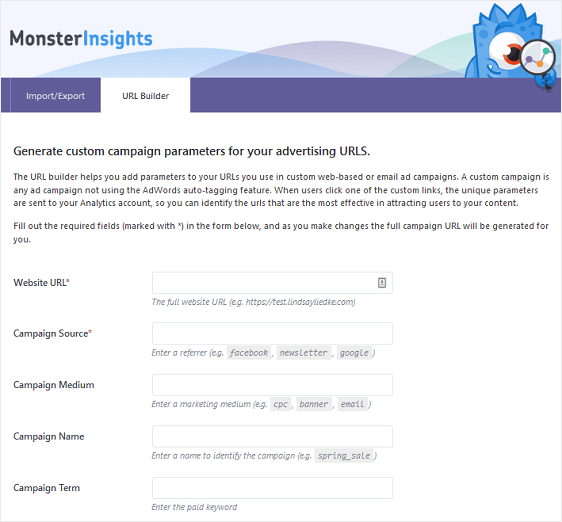 MonsterInsights Campaign Tracking