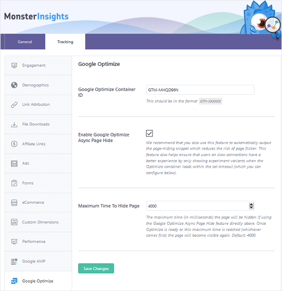 MonsterInsights Google Optimize