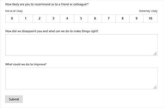NPS Survey Simple Form