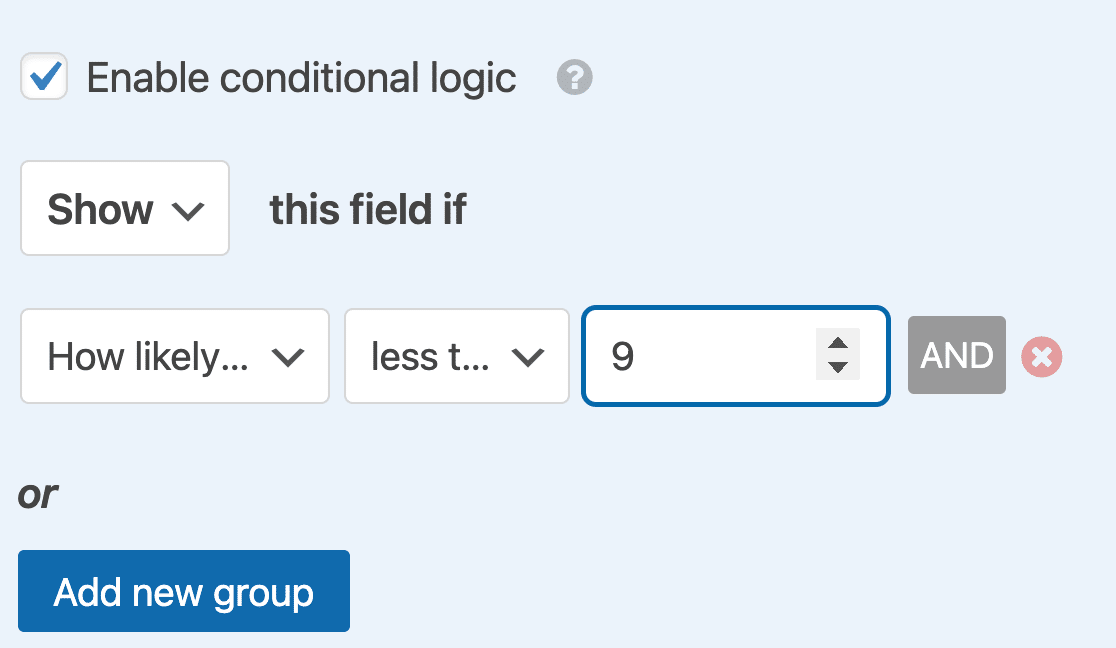Creating an NPS conditional logic rule