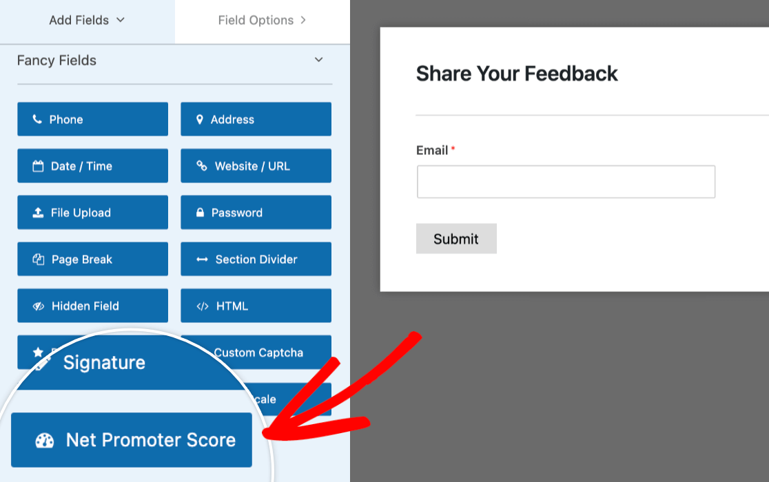 The WPForms Net Promoter Score field