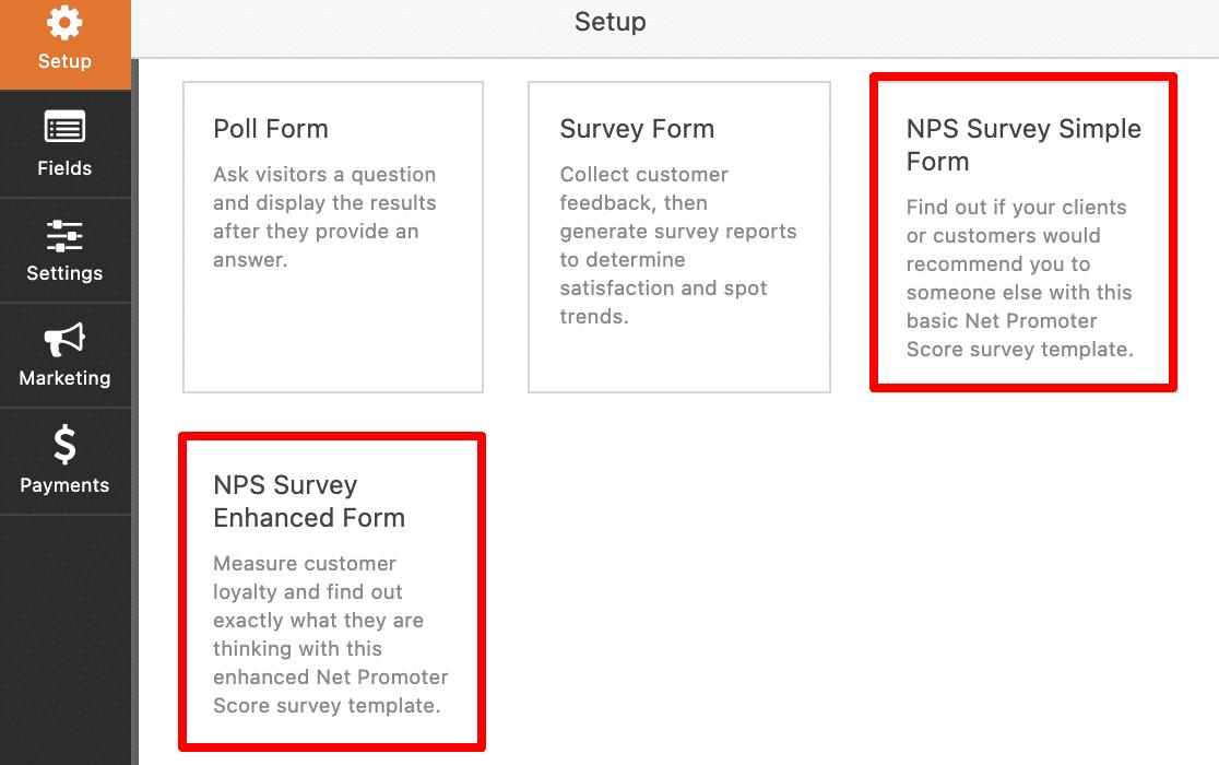 The WPForms NPS form templates